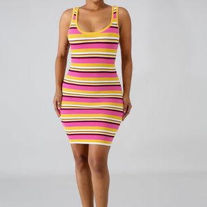 Dresses & Skirts - Womens Pink & Yellow Stripe Bodycon Mini Dress